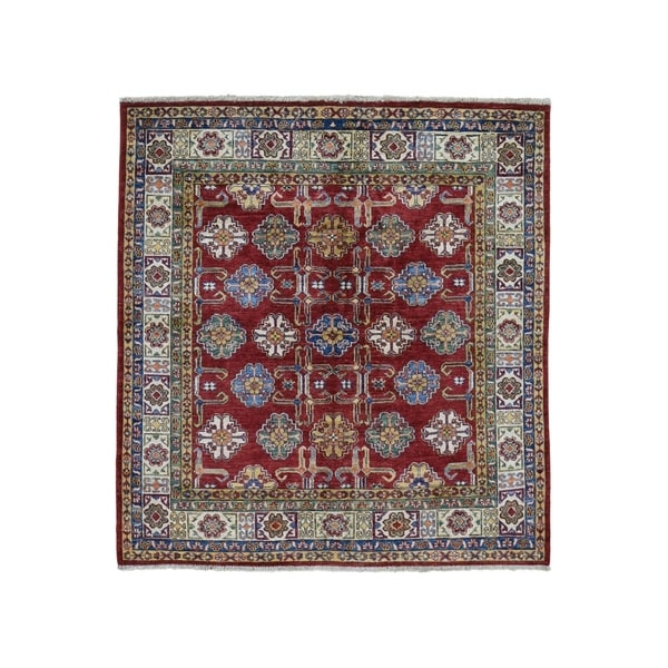 "Shahbanu Rugs Square Red Super Kazak Geometric Design Pure Wool Hand Knotted Oriental Rug (5'0"" x 5'0"") - 5'0"" x 5'0"""