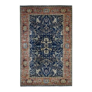 """Shahbanu Rugs Antiqued Heriz Re Creation All Over Design Pure Wool Hand Knotted Oriental Rug (6'3"""" x 9'3"""") - 6'3"""" x 9'3"""""""