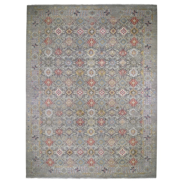 """Shahbanu Rugs Oversize THE SUNSET ROSETTES Wool & Pure Silk Hand-Knotted Oriental Rug (12'0"""" x 18'1"""") - 12'0"""" x 18'1"""""""