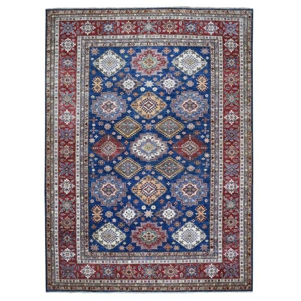 "Shahbanu Rugs Blue Super Kazak Geometric Design Pure Wool Hand Knotted Oriental Rug (9'0"" x 11'9"") - 9'0"" x 11'9"""