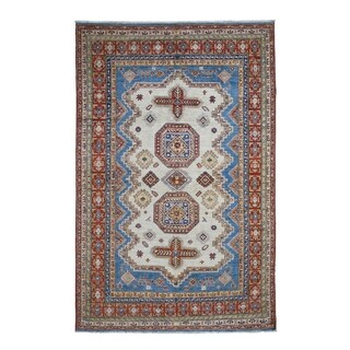 "Shahbanu Rugs Ivory Super Kazak Oriental Pure Wool Hand-Knotted Oriental Rug (6'0"" x 9'6"") - 6'0"" x 9'6"""