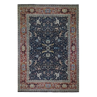 "Shahbanu Rugs Blue Oversized Antiqued Heriz Re Creation Pure Wool Hand Knotted Oriental Rug  (11'10"" x 15'0"") - 11'10"" x 15'0"""