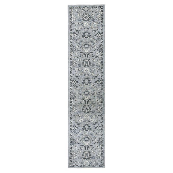 "Shahbanu Rugs Undyed Natural Wool Mahal Design Runner Hand Knotted Oriental Rug (2'7"" x 11'7"") - 2'7"" x 11'7"""