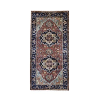 """Shahbanu Rugs Antiqued Heriz Re creation Pure Wool Runner Hand Knotted Oriental Rug (2'8"""" x 6'2"""") - 2'8"""" x 6'2"""""""