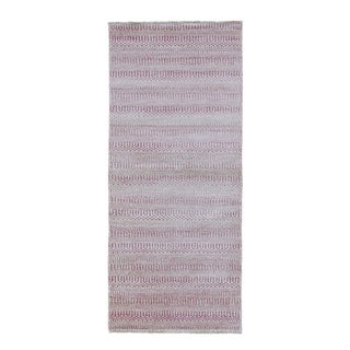 "Shahbanu Rugs Pink Grass Design Gabbeh Wool and Silk Hand Knotted Runner Oriental Rug (2'7"" x 7'9"") - 2'7"" x 7'9"""