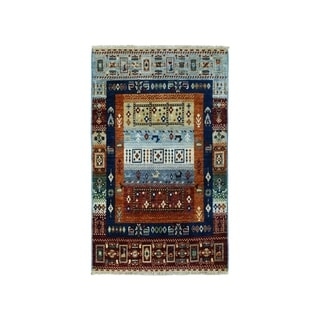 """Shahbanu Rugs Colorful Kashkuli Gabbeh Pictorial Pure wool Hand-knotted Oriental Rug (2'8"""" x 4'2"""") - 2'8"""" x 4'2"""""""