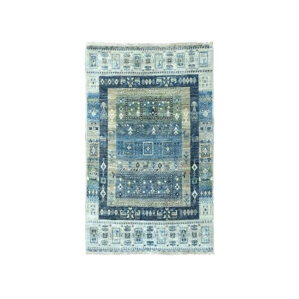 "Shahbanu Rugs Pure Wool Kashkuli Gabbeh Pictorial Hand-Knotted Oriental Rug (2'7"" x 4'0"") - 2'7"" x 4'0"""