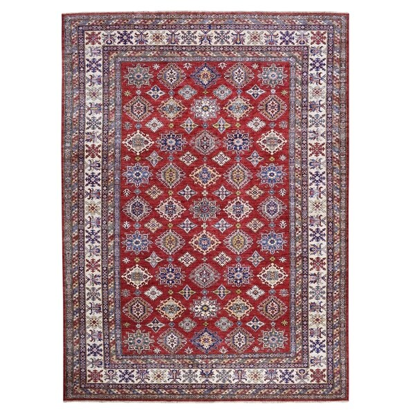 "Shahbanu Rugs Red Super Kazak Pure Wool Geometric Design Hand Knotted Oriental Rug (9'3"" x 12'7"") - 9'3"" x 12'7"""