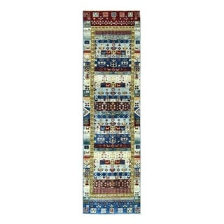 "Shahbanu Rugs Colorful Kashkuli Gabbeh Pure Wool Hand Knotted Runner Oriental Rug (2'7"" x 9'9"") - 2'7"" x 9'9"""