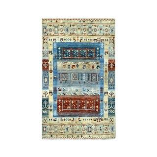 "Shahbanu Rugs Pure Wool Kashkuli Gabbeh Pictorial Hand-Knotted Oriental Rug  (3'3"" x 4'10"") - 3'3"" x 4'10"""
