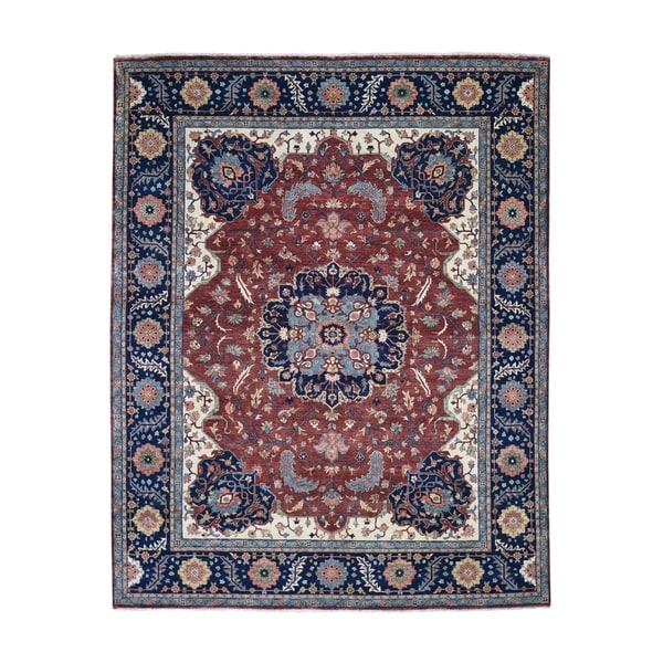 "Shahbanu Rugs Antiqued Heriz Re-creation Hand Knotted Pure Wool Oriental Rug (7'10"" x 10'1"") - 7'10"" x 10'1"""
