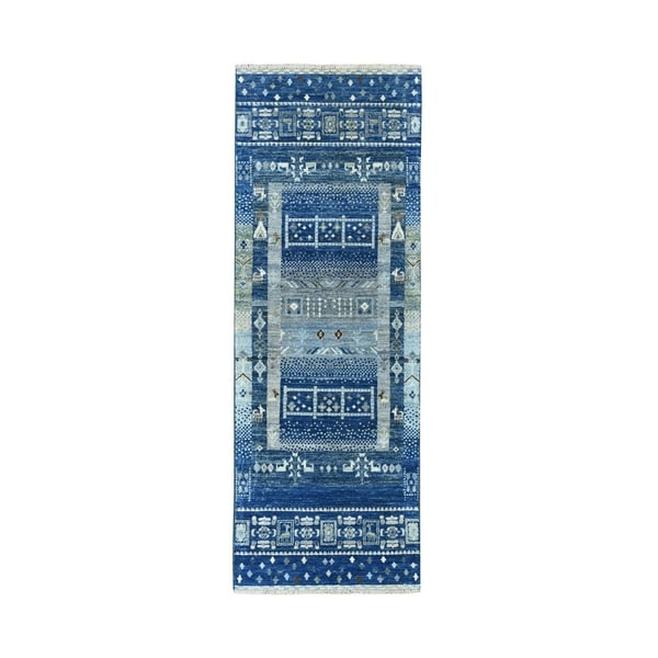 "Shahbanu Rugs Denim Blue Kashkuli Gabbeh Pictorial Pure Wool Hand Knotted Runner Oriental Rug (2'0"" x 5'10"") - 2'0"" x 5'10"""