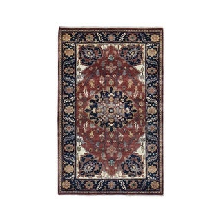 """Shahbanu Rugs Antiqued Heriz Re-creation Hand Knotted Pure Wool Oriental Rug (3'2"""" x 5'2"""") - 3'2"""" x 5'2"""""""