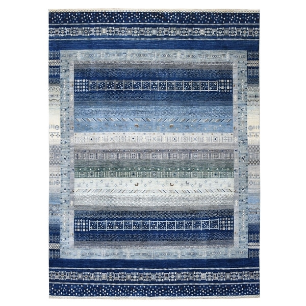 "Shahbanu Rugs Blue Kashkuli Gabbeh Natural Dyes Pure wool Hand Knotted Oriental Rug (9'0"" x 11'9"") - 9'0"" x 11'9"""
