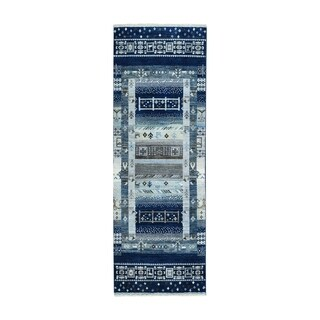 "Shahbanu Rugs Blue Kashkuli Gabbeh Pictorial Hand knotted Runner Pure Wool Oriental Rug (2'7"" x 7'9"") - 2'7"" x 7'9"""