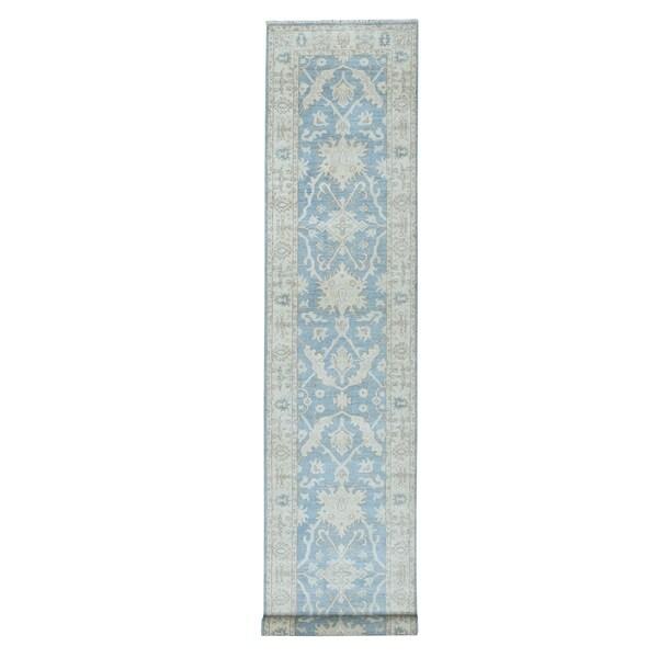 "Shahbanu Rugs White Wash Blue Peshawar Pure Wool Hand Knotted Oriental Runner Rug (2'7"" x 12'7"") - 2'7"" x 12'7"""