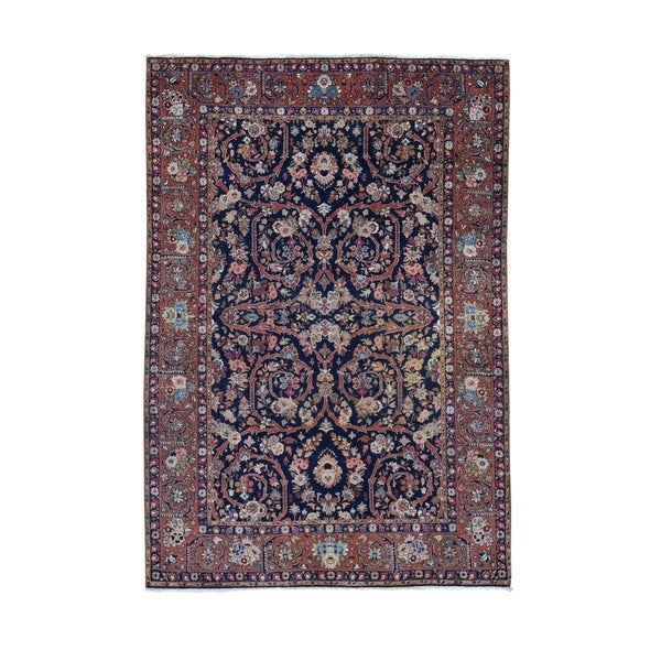 "Shahbanu Rugs Navy Blue Antique Persian Tabriz Pure Wool Some Wear Hand Knotted Oriental Rug (4'7"" x 6'10"") - 4'7"" x 6'10"""