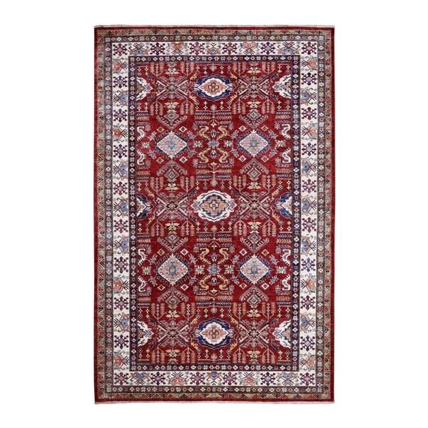"Shahbanu Rugs Red Super Kazak Pure Wool Geometric Design Hand Knotted Oriental Rug (6'0"" x 9'2"") - 6'0"" x 9'2"""