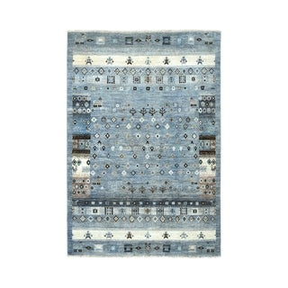 "Shahbanu Rugs Gray Kashkuli Gabbeh Pictorial Pure wool Hand knotted Oriental Rug (3'9"" x 5'9"") - 3'9"" x 5'9"""