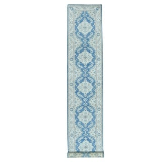"Shahbanu Rugs White Wash Blue Peshawar Pure Wool Hand Knotted Oriental XL Runner Rug (2'7"" x 16'0"") - 2'7"" x 16'0"""