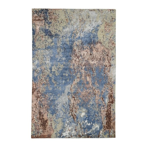 """Shahbanu Rugs Hand-Knotted Abstract Design Wool And Silk Hi And Low Pile Oriental Rug (6'0"""" x 9'0"""") - 6'0"""" x 9'0"""""""