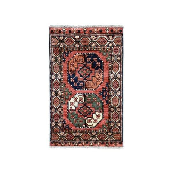 "Shahbanu Rugs Afghan Ersari Elephant Feet Design Pure Wool Hand-Knotted Oriental Rug (2'10"" x 4'0"") - 2'10"" x 4'0"""