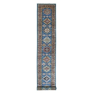 "Shahbanu Rugs Blue Super Kazak Pure Wool Geometric Design Hand Knotted XL Runner Oriental Rug (2'9"" x 22'7"") - 2'9"" x 22'7"""