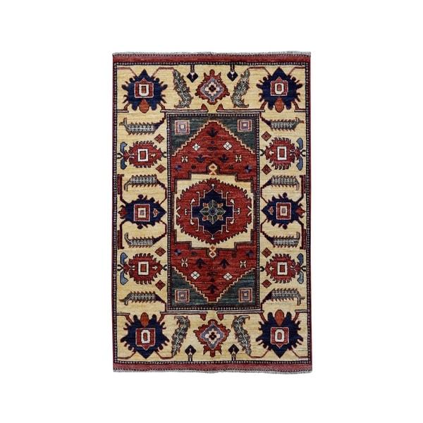 "Shahbanu Rugs Afghan Ersari Pure Wool Hand-Knotted Oriental Rug (3'5"" x 4'9"") - 3'5"" x 4'9"""