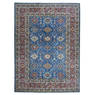 "Shahbanu Rugs Blue Super Kazak Geometric Design Pure Wool Hand-Knotted Oriental Rug (9'0"" x 12'0"") - 9'0"" x 12'0"""