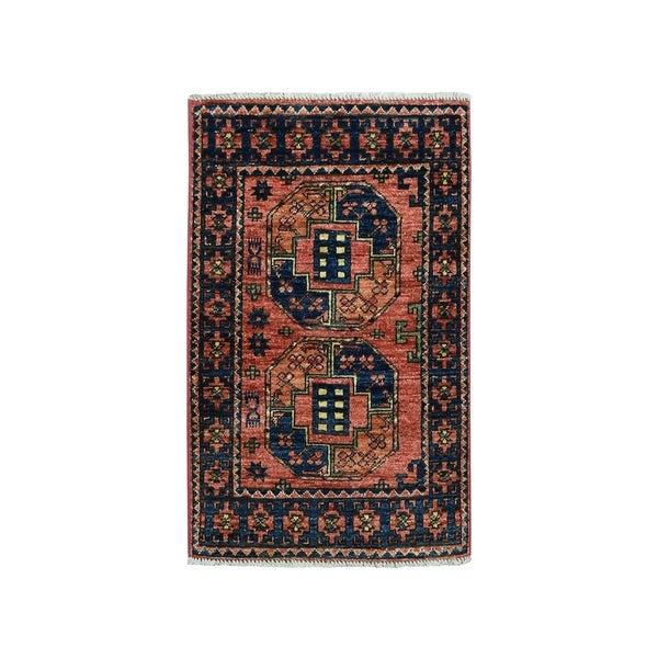 "Shahbanu Rugs Afghan Ersari Elephant Feet Design Pure Wool Hand Knotted Oriental Rug (2'1"" x 3'0"") - 2'1"" x 3'0"""