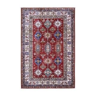 "Shahbanu Rugs Red Super Kazak Pure Wool Geometric Design Hand Knotted Oriental Rug (5'10"" x 8'2"") - 5'10"" x 8'2"""