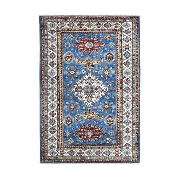 "Shahbanu Rugs Blue Super Kazak Geometric Design Pure Wool Hand Knotted Oriental Rug (5'7"" x 8'5"") - 5'7"" x 8'5"""