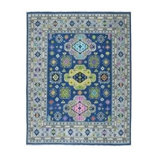 "Shahbanu Rugs Colorful Blue Fusion Kazak Pure Wool Hand-Knotted Oriental Rug (8'0"" x 9'9"") - 8'0"" x 9'9"""