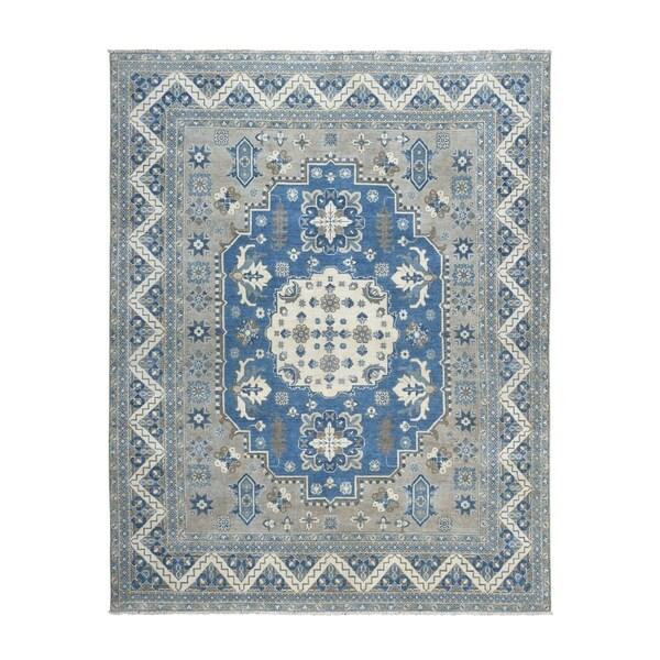 "Shahbanu Rugs Hand Knotted Grey Vintage Look Kazak Pure Wool Oriental Rug (7'8"" x 10'0"") - 7'8"" x 10'0"""