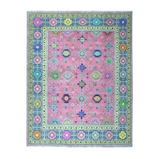 "Shahbanu Rugs Pink Colorful Fusion Kazak Pure Wool Geometric Design Hand-Knotted Oriental Rug (8'0"" x 9'9"") - 8'0"" x 9'9"""