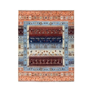 "Shahbanu Rugs Pure Wool Kashkuli Gabbeh Pictorial Hand Knotted Oriental Rug  (4'9"" x 6'8"") - 4'9"" x 6'8"""