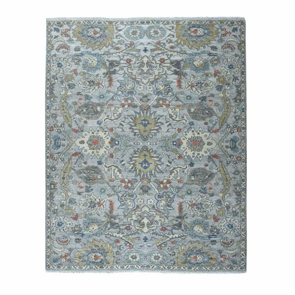 """Shahbanu Rugs Colorful Textured Wool Oushak Design Hand Knotted Oriental Rug (8'1"""" x 10'3"""") - 8'1"""" x 10'3"""""""