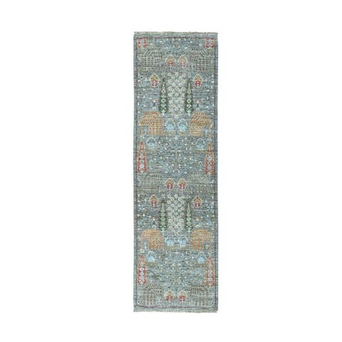 """Shahbanu Rugs Gray Peshawar Willow and Cypress Tree Design Hand Knotted Oriental Runner Rug (2'6"""" x 8'1"""") - 2'6"""" x 8'1"""""""