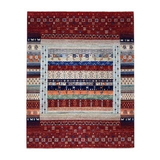 """Shahbanu Rugs Red Kashkuli Gabbeh Natural Dyes Pure wool Hand Knotted Oriental Rug (8'0"""" x 9'8"""") - 8'0"""" x 9'8"""""""