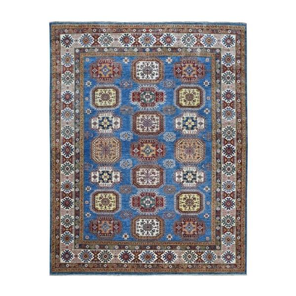 "Shahbanu Rugs Blue Super Kazak Geometric Design Pure Wool Hand Knotted Oriental Rug (8'0"" x 10'0"") - 8'0"" x 10'0"""