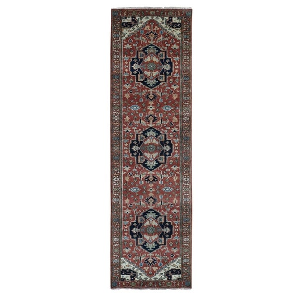 "Shahbanu Rugs Red Heriz Revival Pure Wool Hand Knotted Runner Oriental Rug (2'6"" x 11'8"") - 2'6"" x 11'8"""