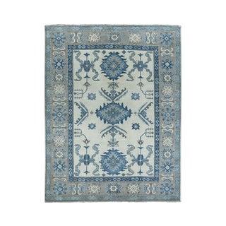 "Shahbanu Rugs Ivory Vintage Look kazak Geometric Design Pure wool Hand-Knotted Oriental Rug (5'0"" x 6'6"") - 5'0"" x 6'6"""