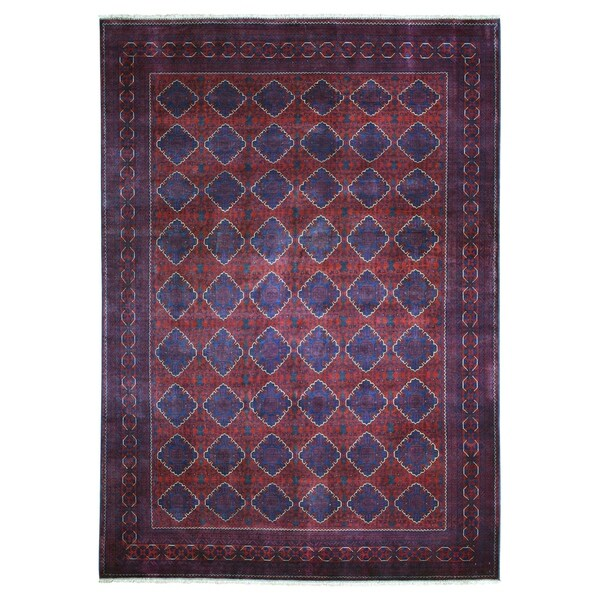 "Shahbanu Rugs Repetitive Design Pure Wool Afghan Khamyab Hand Knotted Oriental Rug (8'5"" x 11'5"") - 8'5"" x 11'5"""