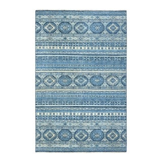 "Shahbanu Rugs Blue Super Kazak Khorjin Design Pure Wool Hand Knotted Oriental Rug (6'1"" x 9'0"") - 6'1"" x 9'0"""