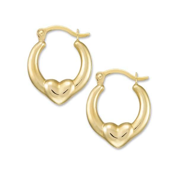 Forever Last 10 kt Yellow Gold Heart click Hoop Earrings Kids - On Sale -  Overstock - 29161734