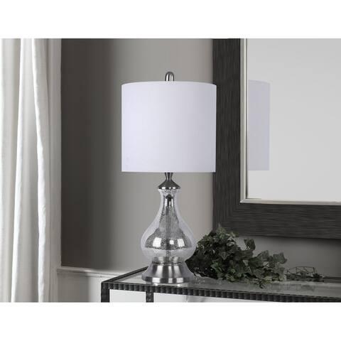 Porch & Den Kirsten Silver Acid Mirror Glass 22-inch Accent Lamp with White Linen Drum Shade
