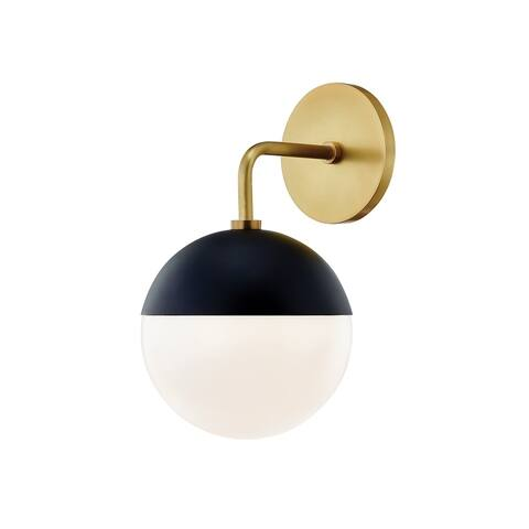 Renee 1-light Aged Brass and Black Wall Sconce, Opal Glossy Glass