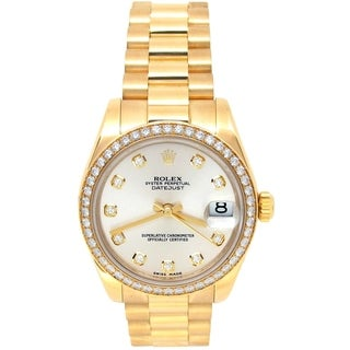 Pre-owned 31mm Rolex 18k Yellow Gold Oyster Perpetual Datejust Watch with Diamonds