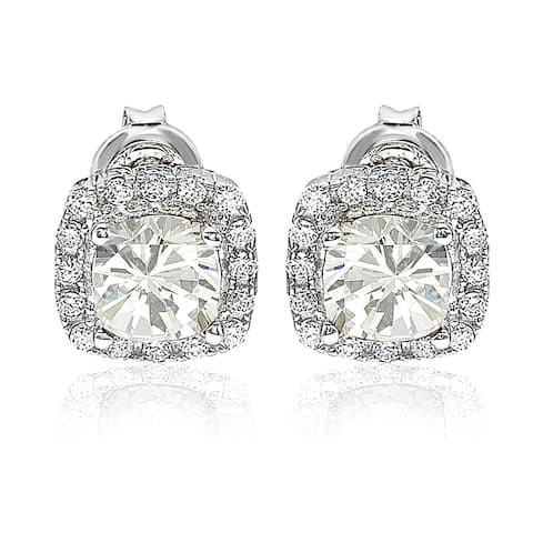 Suzy L. White Cubic Zirconia Sterling Silver Princess Diana Stud Earrings