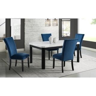 Picket House Furnishings Celine White Marble 5PC Dining Set-Table & Four Velvet Chairs